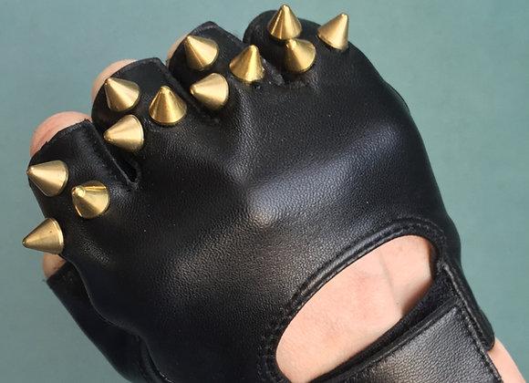 Black Leather w 3 Brass Spikes