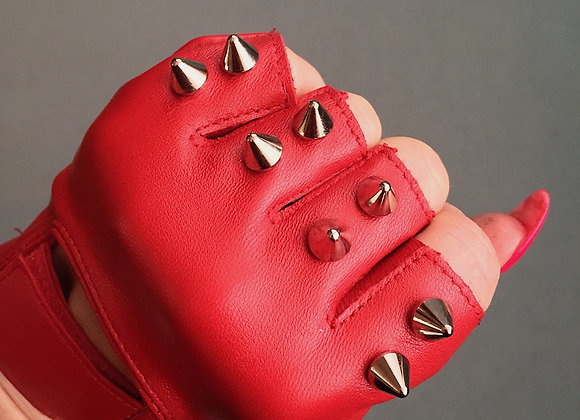 Red Leather with 2 Silver Spikes