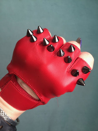 Red Leather with 3 Black Spikes