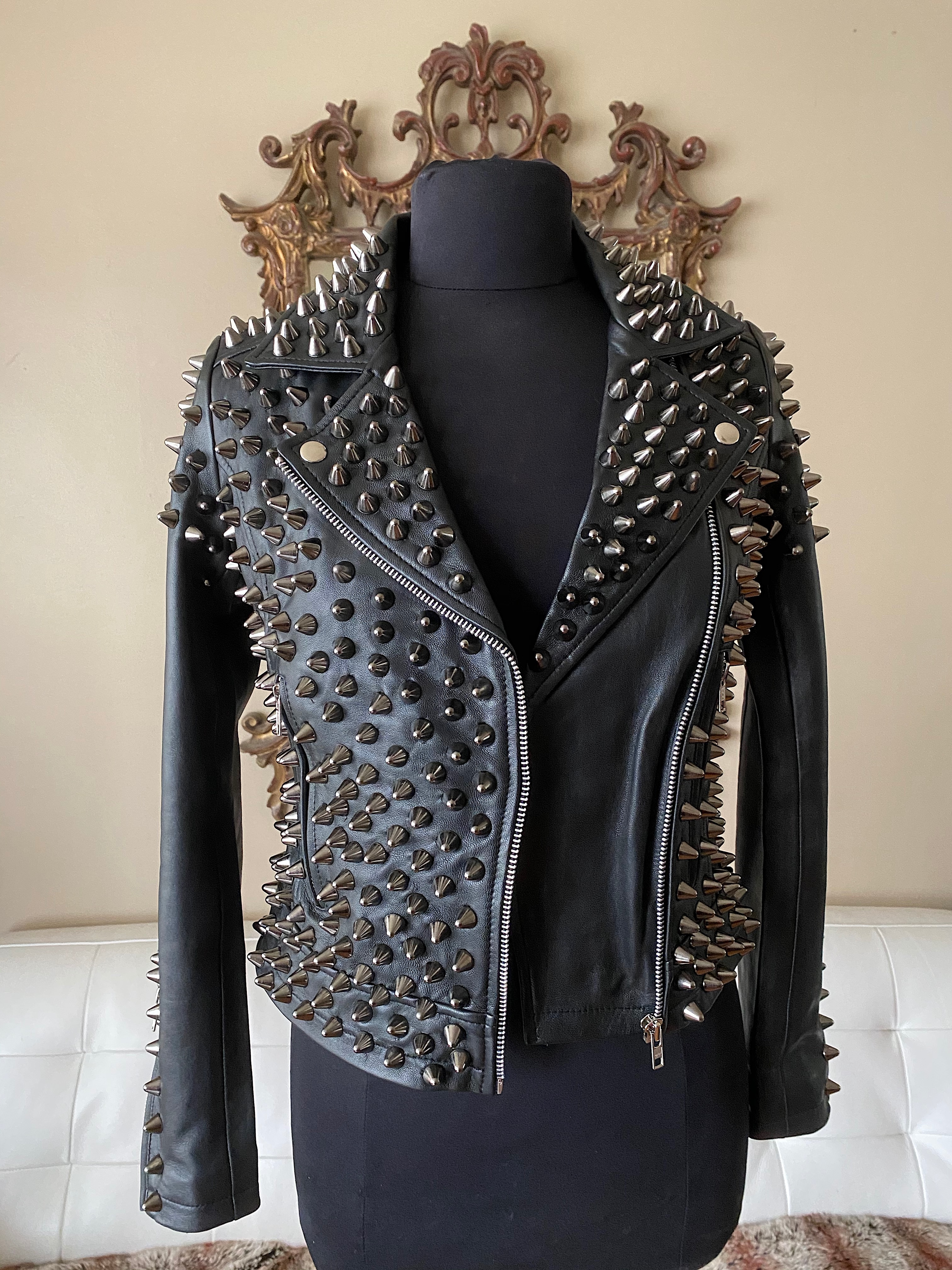 Studded Leather Lambskin Front Open