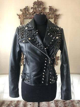Black Stud & Spikes Black Studded Motorcycle Jacket, New, S 4-6