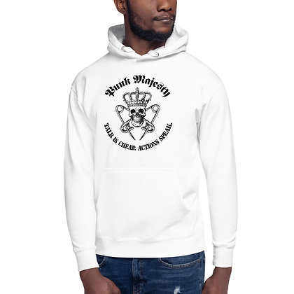 White Unisex Hoodie Punk Majesty Talk is Cheap