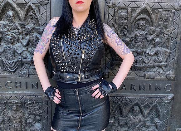 Black Spikes on Black Leather Motorcycle Biker Vest, M