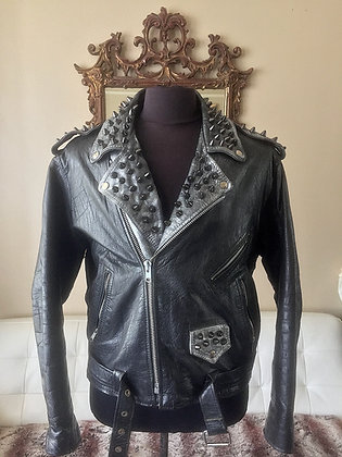 Distressed Silver & Black Gun Metal Spiked Biker, Upcycled, Size 44