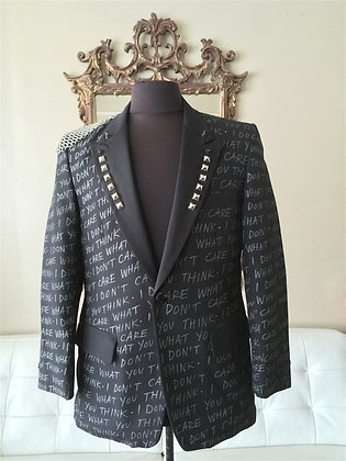 I DON'T CARE WHAT YOU THINK Tuxedo Jacket 38-39 M