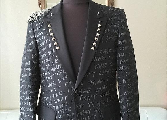 I DON'T CARE WHAT YOU THINK Tuxedo Jacket 38-39 M