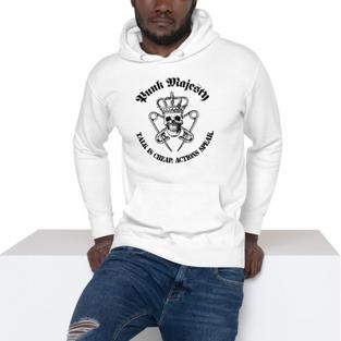 PM White Unisex Hoodie, 100% Cotton