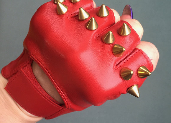 Red Leather w 3 Brass Spikes