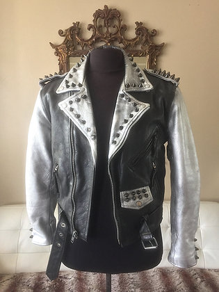 Silver & Black Gun Metal Spiked Biker, Upcycled,  Size 38