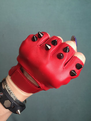 Red Leather with 2 Black Spikes