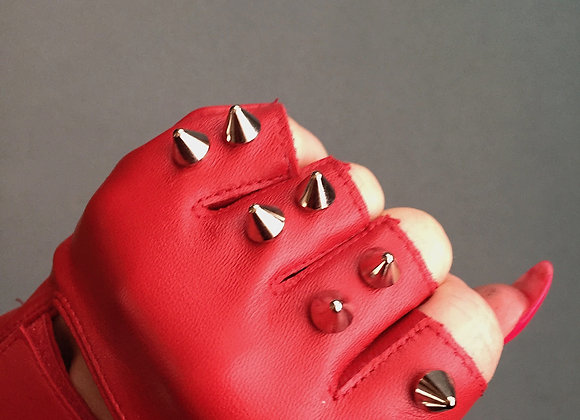 Red Leather w/ 2 silver spikes