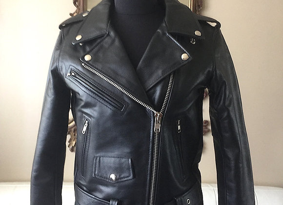Women's Classic Motorcycle Leather Jacket (Cowhide)
