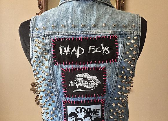 DEAD BOYS/ NY DOLLS/ CRIME Denim Punk Vest, Size S