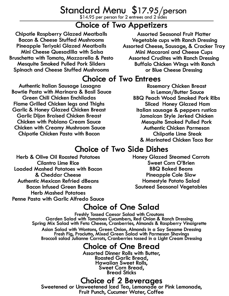 new caseycaters standard menu 3 plain re