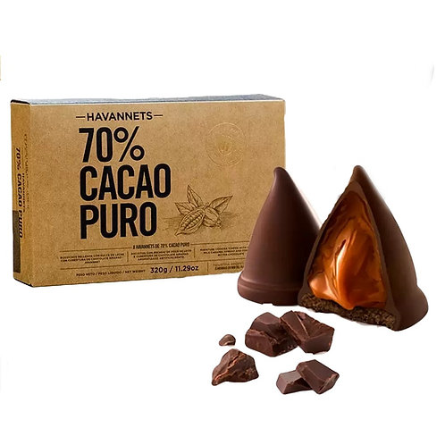 Box of cookies filled with milk caramel in the shape of a cone, conitos Havannets cacao