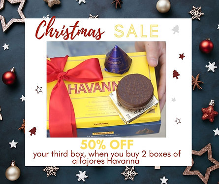 Alfajores Havanna special christmas deal box of alfajores with one alfajor and one conito on top