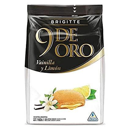 Vanilla cookies filled with lemon cream 9 de Oro Brigette galletas de vainilla rellenas con limon