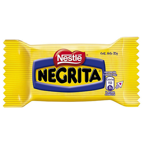 One unit of negrita chocolate bar from Nestle made in Chile