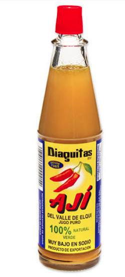 Glass bottle of hot pepper sauce aji chileno diaguita 100ml