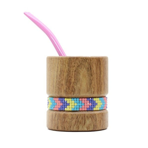 Wooden mate & straw, strass