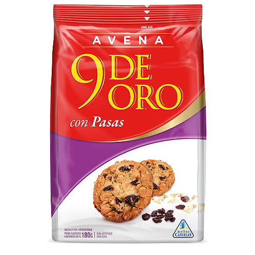 Oats and raisins cookies 9 de oro galletitas de avenas con pasas