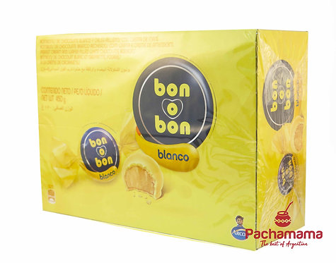 Box of Box of bocadito bon o bon peanut butter bonbon covered in white chocolate available at tienda Pachamama New Zealand