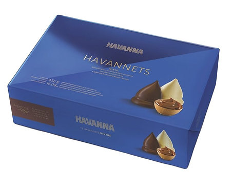 Box of 12 Havannets cones filled with milk caramel spread and covered in white or milk chocolate