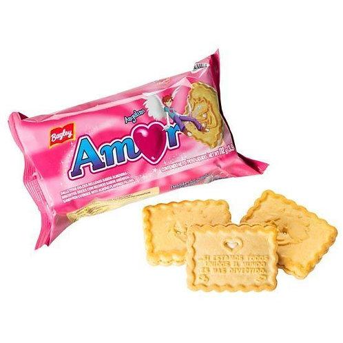 vanilla cookies filled with almond cream GALLETITAS AMOR rellenas con crema de almendras