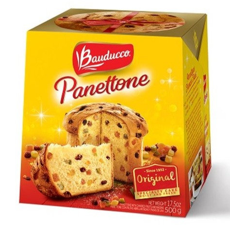 Box of Panettone Bauduocco with glaced fruits, 500g Pan dulce Bauduocco con frutas glaceadas