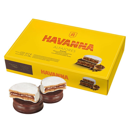 Box of 12 alfajores Havanna, 6 alfajores covered in chocolate and 6 alfajores covered in italian meringue