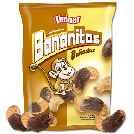 Galletas turimar banana con chocolate sweet cookies shaped as a banana covered in chocolate argentina new zealand pachamama