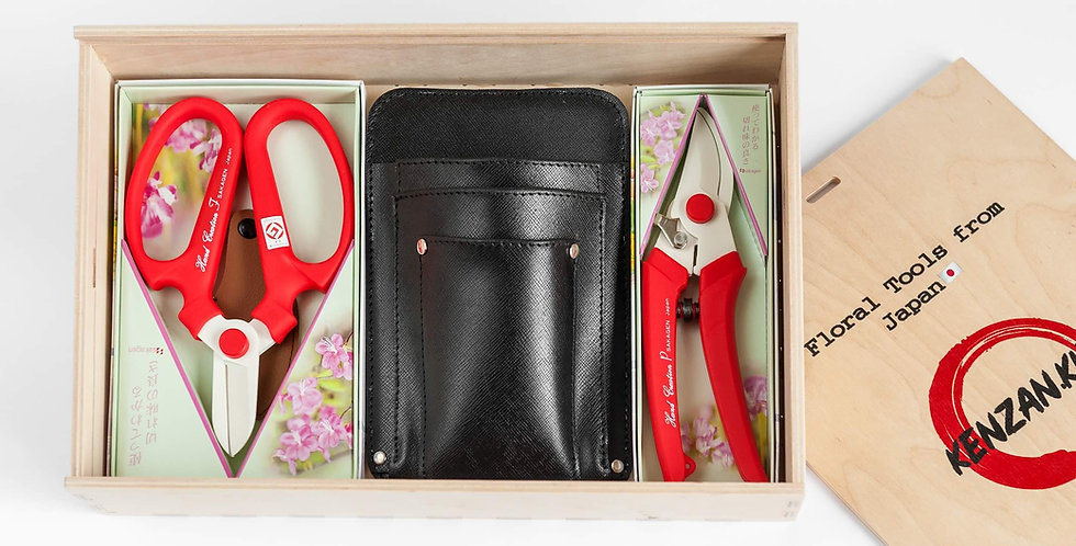 Floral Tool Box Gift Set/Red