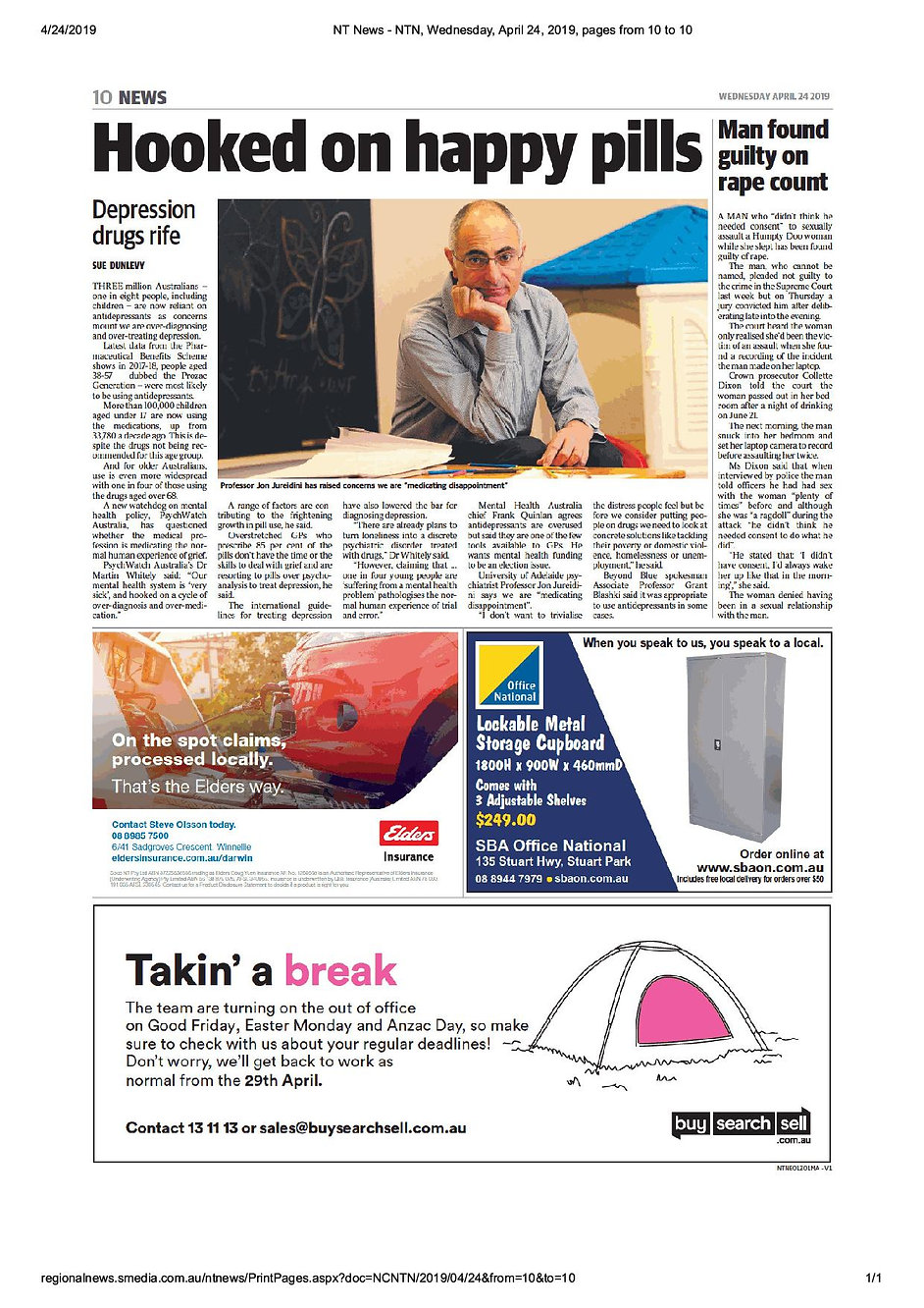 Hooked on happy pills. NT news. 24.04.19