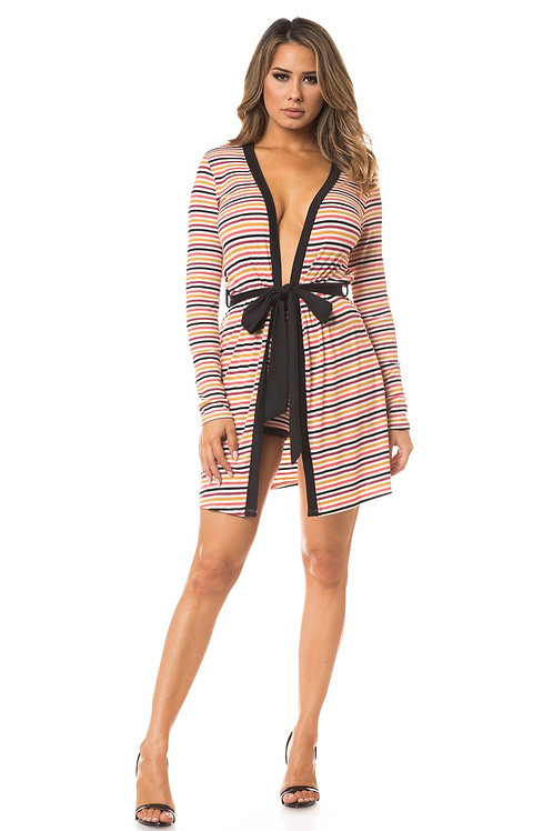 Multi stripe cardigan and short Set