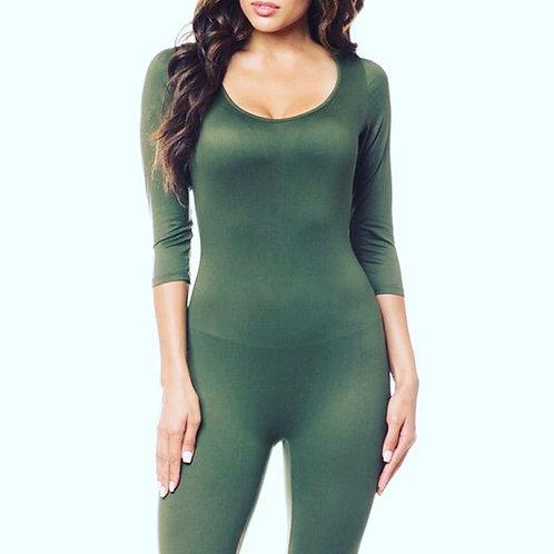 Plain long jump suit