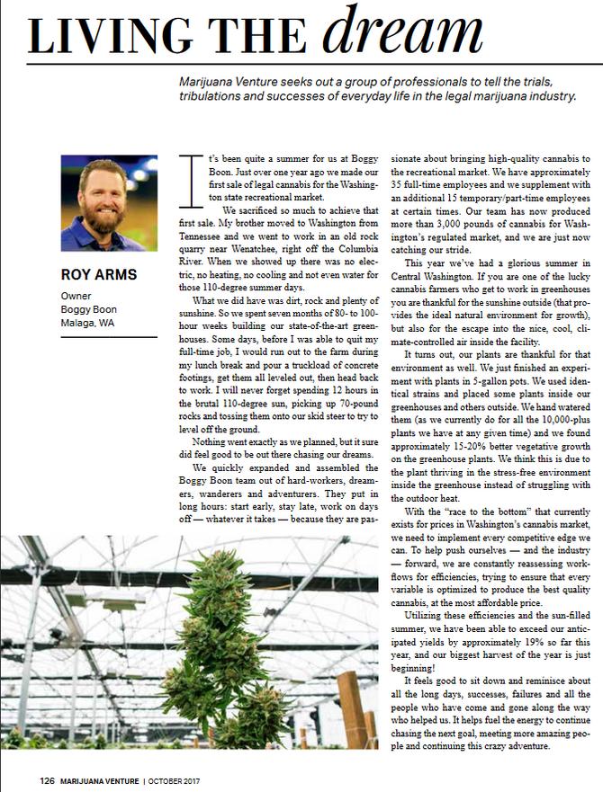 Featured in Marijuana Venture Magazine