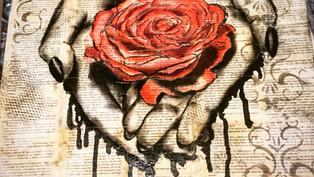 rose, hand mixed media artwork