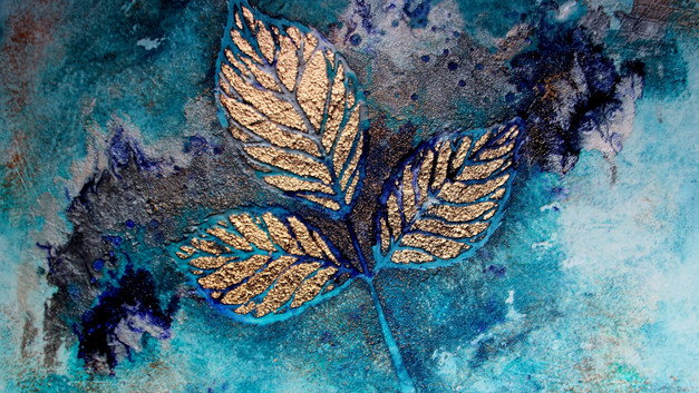 leaf blue painting