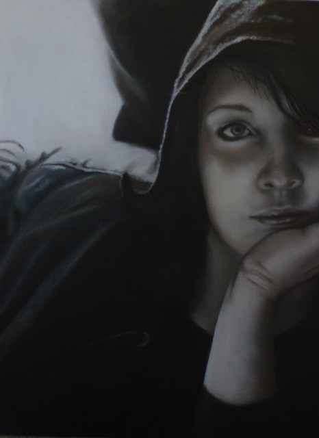 Girl In The Hood - Oils - SOLD