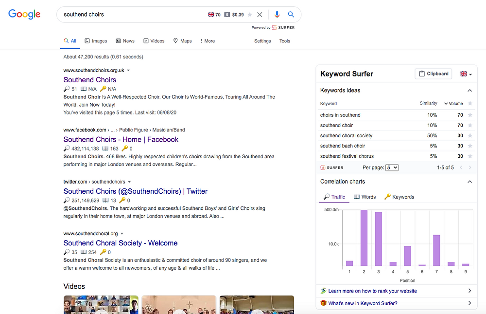 Google search screenshot example to show what SEO is.