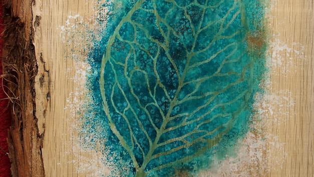 wooden leaf mixed media