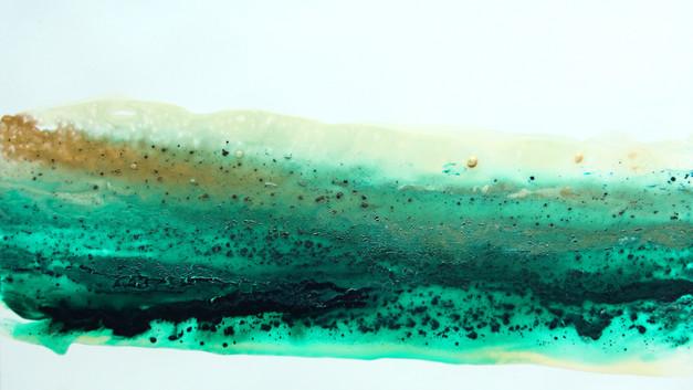 green mixed media painting