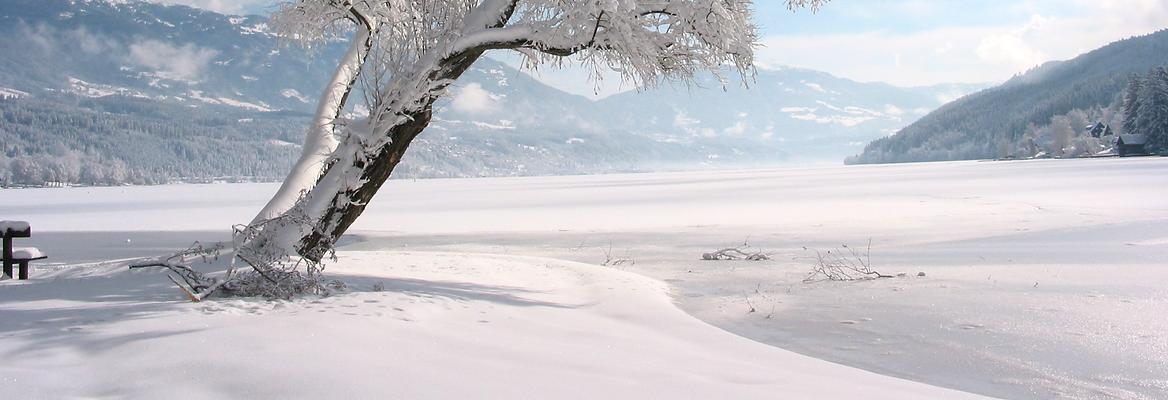 Winterlandschaft mit Blick auf den Millstätter See