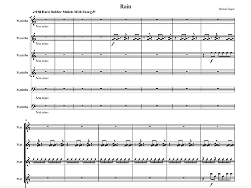 Rain For Marimba Ensemble and Track - Digital Version