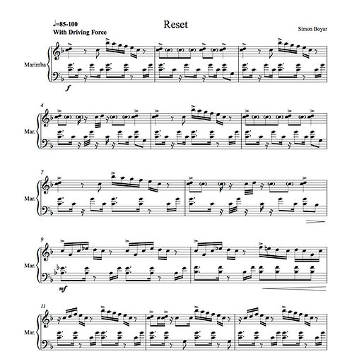 Reset for Solo Marimba - Digital Version
