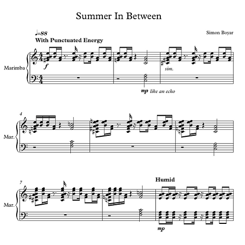 Summer In Between for Solo Marimba (6 Mallets) - Digital Version