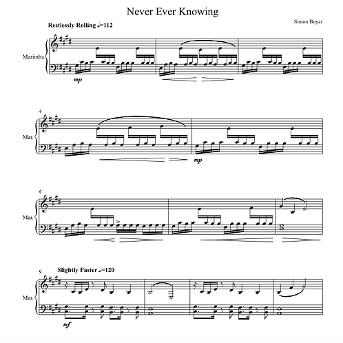 Never Ever Knowing for Solo Marimba - Digital Version