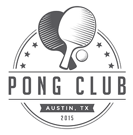 Pong Club Logo. Pong Club Austin. Ping Pong and Table Tennis representing South Austin