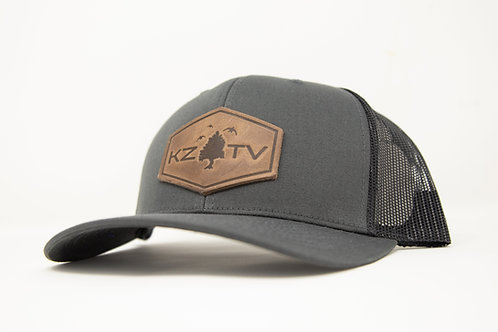 KZTV Leather Patch Cap- Charcoal/ Black