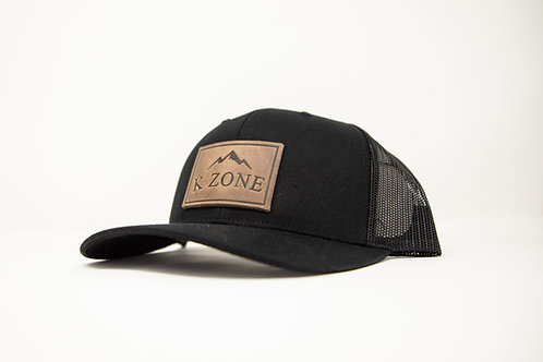 K Zone Leather Patch Cap- All Black
